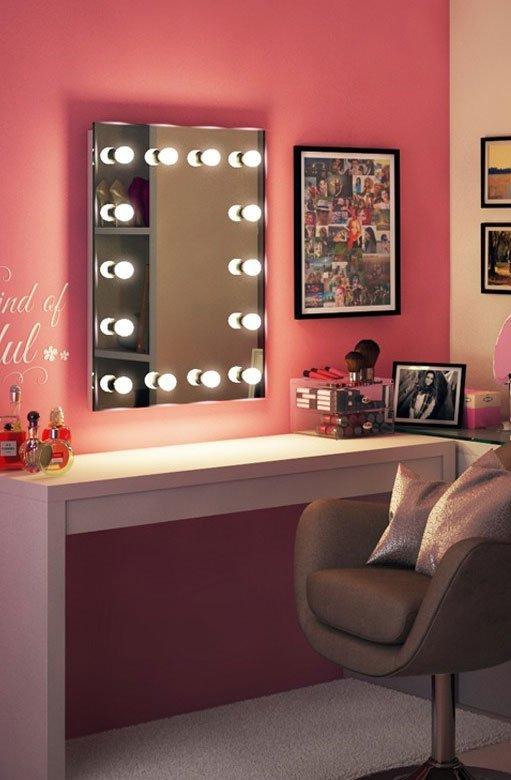 Visagie theater spiegel met professionele dimbare for Lampen 60 cm
