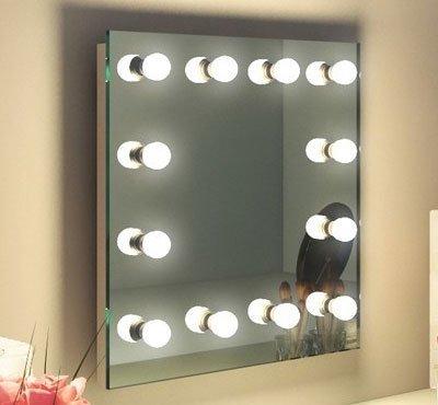 Deze visagie make-up spiegel is rondom voorzien van dimbare LED lampen