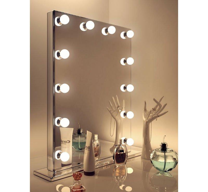 Visagie Spiegel Met Lampen.Design Visagiespiegel Op Voet Met Dimbare Lampen 60 X 80 Cm