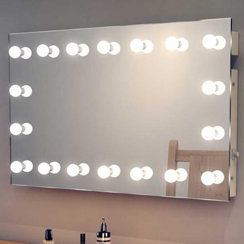Luxe visagiespiegel met rondom dimbare led lampen 100x60 for Lampen 60 cm
