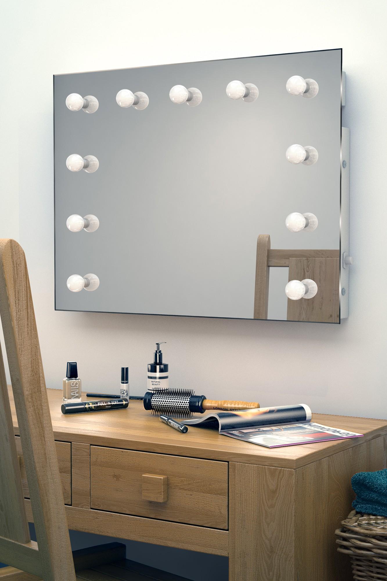 Make up theater spiegel met led verlichting 80x60 cm visagiespiegels - Hollywood spiegel lampen ...