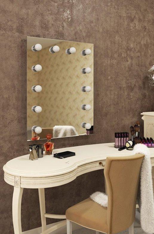 Badkamer visagiespiegel met dimbare lampen 60 x 80 cm visagiespiegels - Hollywood spiegel lampen ...