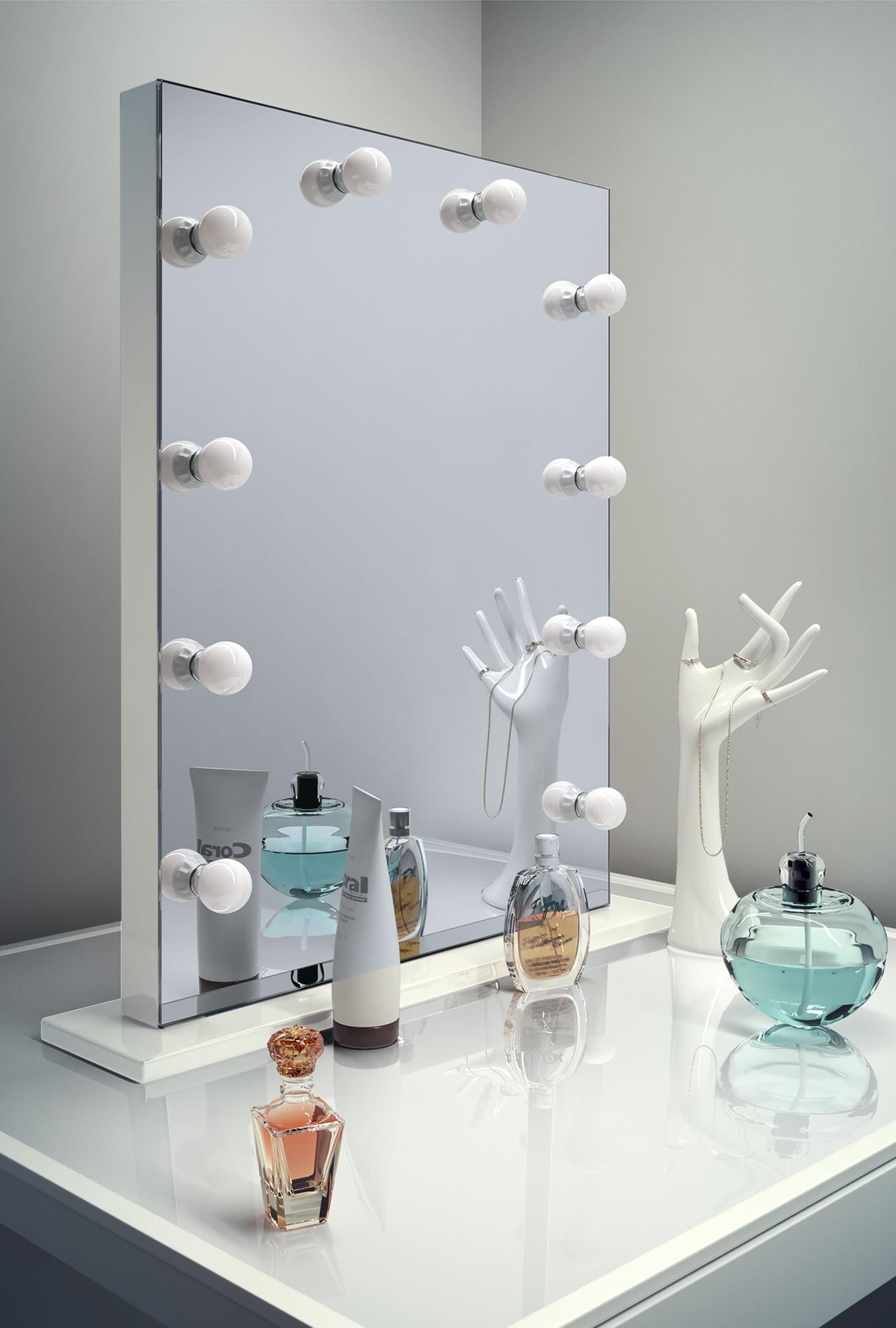 luxe make up spiegel met dimbare lampen op voet 60x80 cm. Black Bedroom Furniture Sets. Home Design Ideas