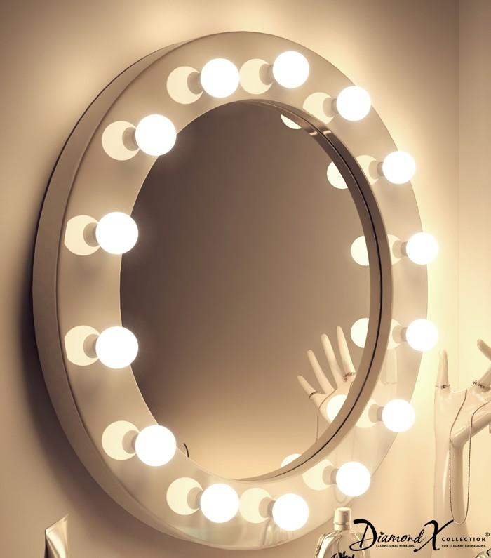 Ronde make-up theater spiegel met 14 dimbare lampen