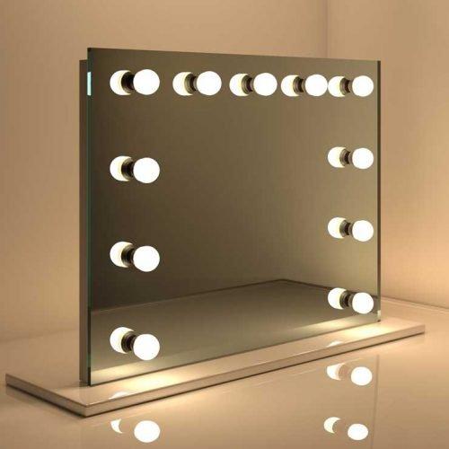 Deze moderne make-up visagie spiegel op voet is ideaal voor gebruik op een tafel of meubel