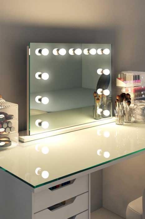 Moderne make up theater spiegel met led lampen 80x60 cm for Lampen 60 cm