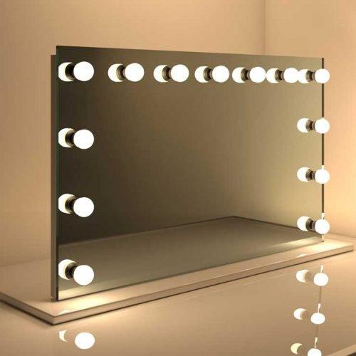 brede make up spiegel op voet met dimbare verlichting. Black Bedroom Furniture Sets. Home Design Ideas