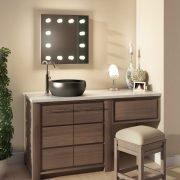 De dimbare lampen zijn rondom de spiegel geplaatst