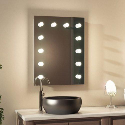 badkamer visagiespiegel met dimbare lampen 60 x 80 cm