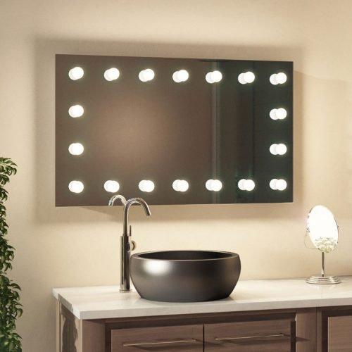 Deze luxe make-up spiegel met rondom lampen is geschikt voor gebruik in de badkamer