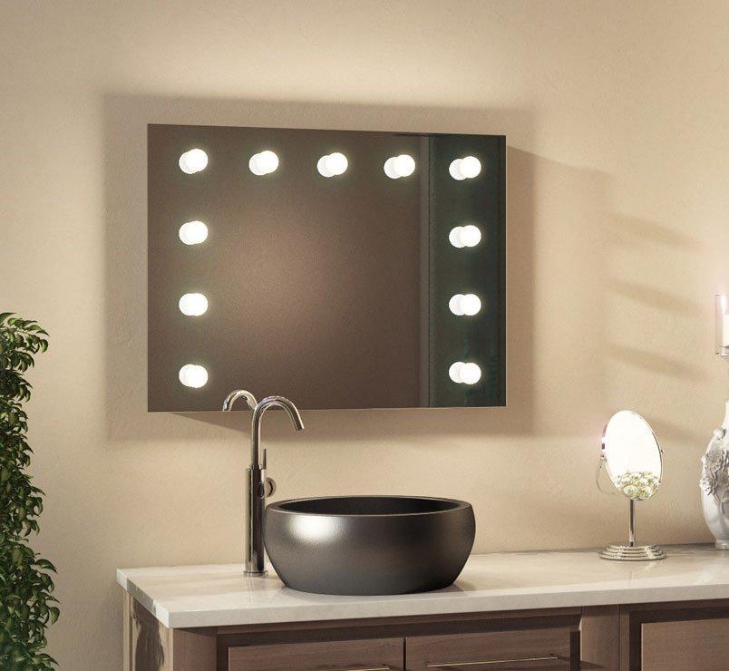 80 cm brede badkamer theater spiegel met dimbare verlichting