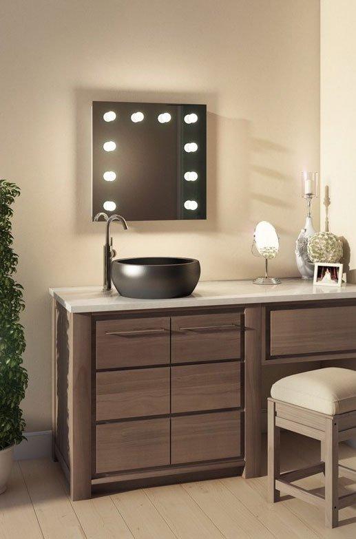 kleine badkamer visagie spiegel met handige dimbare verlichting 60 x 60 cm visagiespiegels. Black Bedroom Furniture Sets. Home Design Ideas