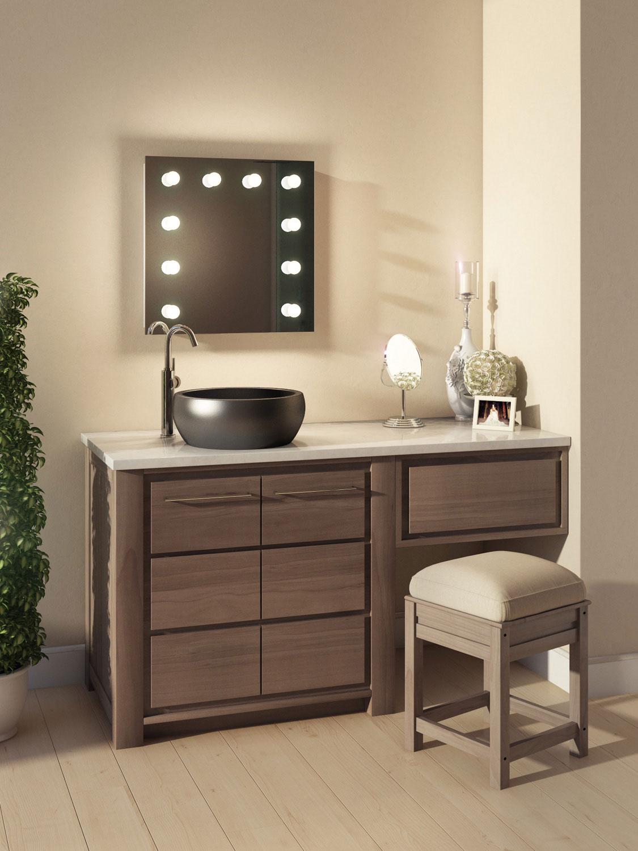 Kleine badkamer visagie spiegel met handige dimbare verlichting 60 x 60 cm visagiespiegels - Hollywood spiegel lampen ...
