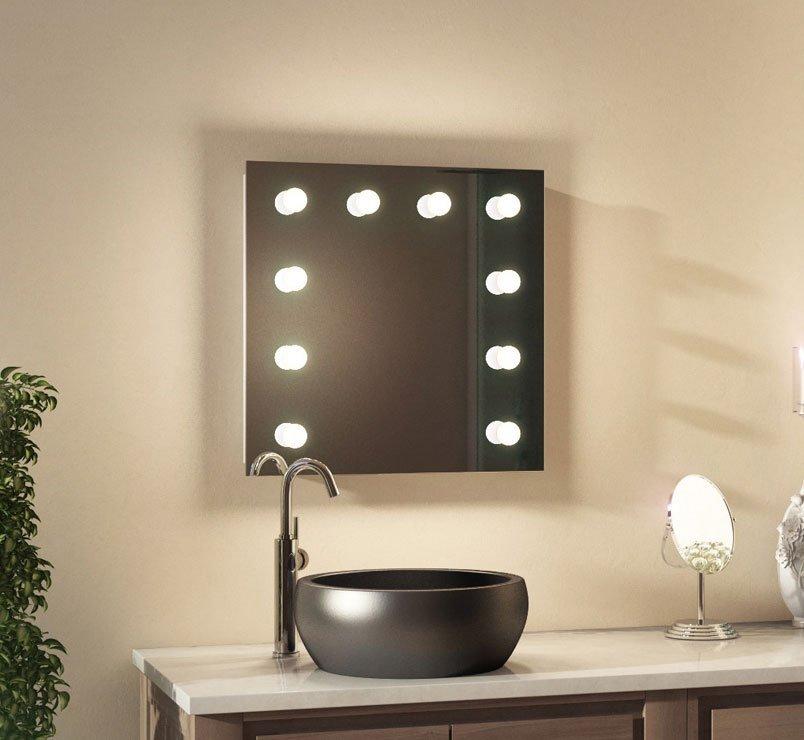 Badkamer visagie spiegel met 10 dimbare lampen