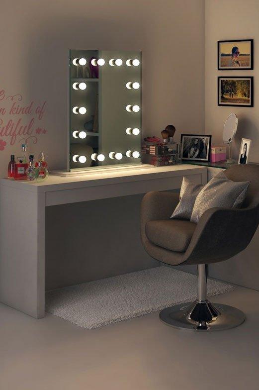 Make up spiegel met dimbare lampen 60 x 80 cm for Lampen 60 cm