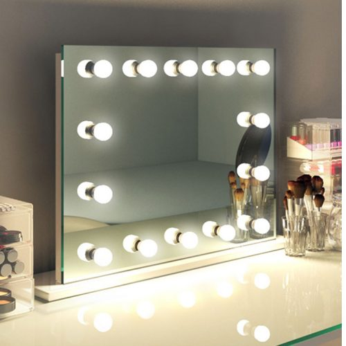 Hollywood make-up spiegel op voet met rondom lampen 80x60 ...