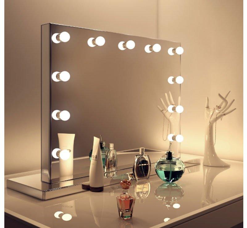 Luxe visagie spiegel op voet van 80 cm breed en 60 cm hoog